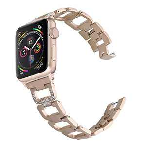 PUGO TOP Compatible with Apple Watch Band 42mm 44mm Series 6 5 4 3 2 1 SE Iwatch Iphone Watch Bracelet Wristband Stainless Steel for Women (42mm/44mm,Champagne Gold)