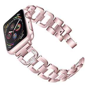 PUGO TOP Replacement for Apple Watch Band 44mm Series 6 5 4 Iwatch Iphone Watch Bracelet Wristband 42mm Series 3 2 1 SE for Women Bling with Rhinestone (42mm/44mm, Rose Gold)