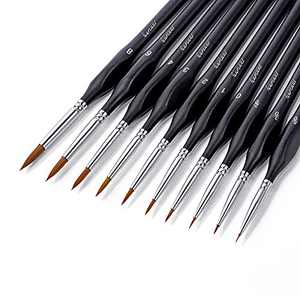 Detail Paint Brushes, Fuumuui 10pcs Miniature fine Paint Brushes with Ergonomic Triangular Handle Perfect for Acrylic Watercolor Gouache Oil Painting, Warhammer 40k Model Painting, Line Drawing