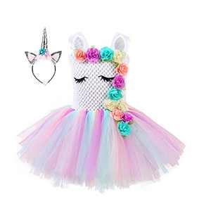 Wizland Unicorn Dress Unicorn Tutu Costumes Girls Handmade Pageant Princess Party Dress with Headband for Kids 8-9Years