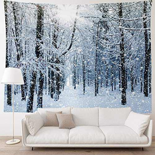 """HIYOO Home Christmas Forest Tree Wall Hanging Tapestry, Xmas New Year Winter Wall Tapestry Fabric Art Decorations, Decor for Dorm Room Bedroom Living Room, Party Background - Snowy Woods 90""""W x 60""""L"""