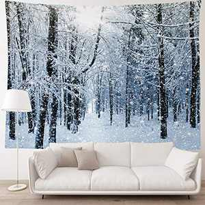 "HIYOO Home Christmas Forest Tree Wall Hanging Tapestry, Xmas New Year Winter Wall Tapestry Fabric Art Decorations, Decor for Dorm Room Bedroom Living Room, Party Background - Snowy Woods 90""W x 60""L"