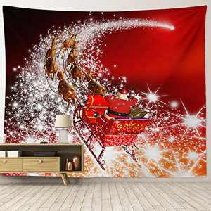 """HIYOO Home Christmas Santa Claus Tapestry Wall Hanging, Xmas New Year Winter Wall Tapestry Fabric Art Decorations, Background Decor for Dorm Room, Bedroom, Living Room- Starry Sky Sleigh 90""""W x 71""""L"""