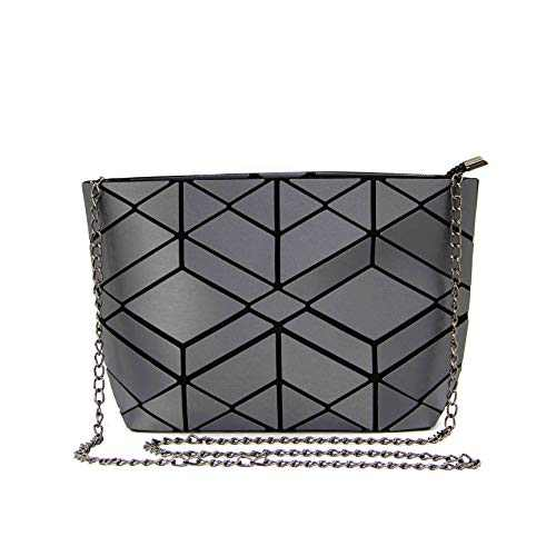 Luminous Geometric crossbody bag and Holographic Purse Reflective Purse Laser chian Cross-Body Bags (Grey Diamond)