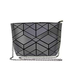 Luminous Geometric crossbody bag and Holographic Purse Reflective Purse Laser chian Cross-Body Bags (Grey Diamond)