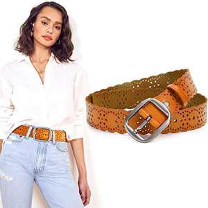 Brown Leather Belt for Women Wide Fashion Belts for Jeans Dresses Pants with Silver Buckle