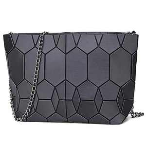 Luminous Geometric crossbody bag and Holographic Purse Reflective Purse Laser chian Cross-Body Bags (Black Honeycomb)