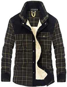 Flygo Men's Casual Long Sleeve Fleece Sherpa Lined Flannel Plaid Shirt Jacket (Medium, Green)
