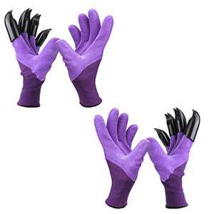 Garden Genie Gloves with Claws, Waterproof and Breathable Garden Gloves for Digging Planting, Best Gardening Gifts for Women and Men (Purple 2 Pairs)
