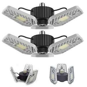 LZHOME 2-PACK LED Garage Lights, 6500Lumens E26/E27 Adjustable Trilights Garage Ceiling Light ,60W LED Garage Light, CRI>80, 5000k Nature light,Garage Lights with Adjustable Panels(No Motion Activate)