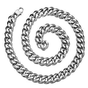 Granny Chic 12/15/17/19mm Mens Chain Necklace Stainless Steel Curb Cuban Link Choker Hip Hop Miami Rapper Necklace (26 inches, 19mm)