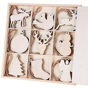 MACTING 45pcs Unfinished Wood Christmas Ornaments with Holes - Ball, Bird, Christmas Stocking, Snowman, Angel, Christmas Tree, Deer Head, Cow, Deer Cutouts Tag Xmas Tree Hanging Decorations ¡­ …