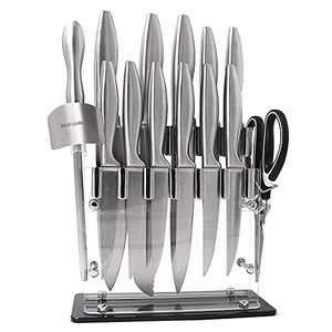 Block Knife Sets Stainless Steel With Sharpening Beafuorct 15 piece Steak Knives Set Professional Chef Knife and Scissors for Kitchen