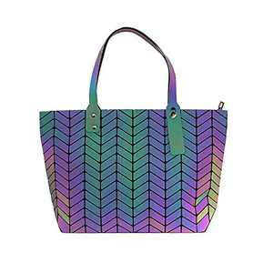 KAISIBO Unique Design Geometric Lattice Handbag Totes Purses for women (Wave Luminous)