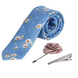iHomor Men's Cotton Printed Floral Neck Tie Skinny Ties with Stainless Steel Tie Clip and Lapel Pin/Brooch Gift Set (blue3)