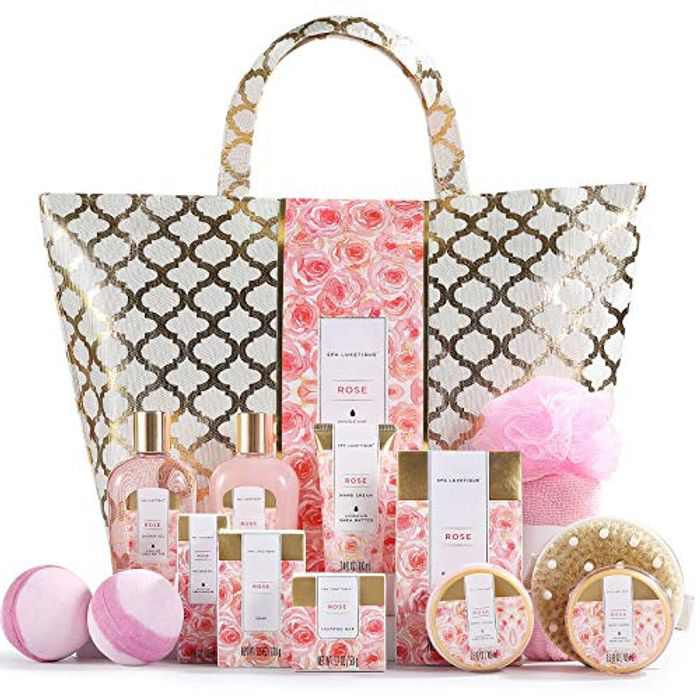 Spa Luxetique Spa Gift Set, 15pcs Bath Sets for Women Gifts, Rose Bath Gift Set with Bubble Bath, Body Lotion, Massage Oil, Luxury Pamper Sets for Women Gifts, Gifts for Mum