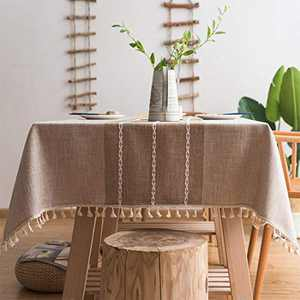 Smiry Embroidery Tassel Tablecloth - Cotton Linen Dust-Proof Table Cover for Kitchen Dining Room Party Home Tabletop Decoration (Rectangle/Oblong, 55 x 86 Inch, Linen)