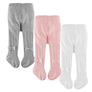 slaixiu Cotton Baby Girl Tights Cable Knit Seamless Toddler Leggings Pantyhose Pants Stockings 3-Pack(White&Pink&Gray_BowTie_1-2 Y)