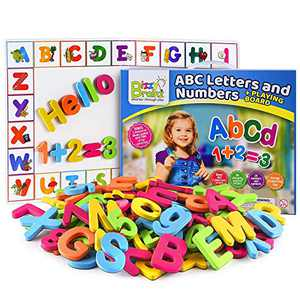 Magnetic Letters and Numbers for Toddlers + Magnetic Board | Alphabet Magnets Includes eBook with 35+ Learning & Spelling Games / ABC Magnets