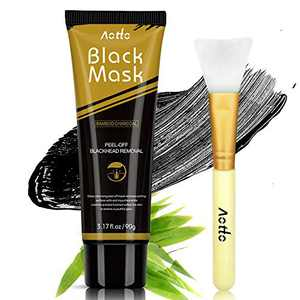 Blackhead Remover Mask Deep Cleansing Charcoal Black Mask Peel-Off Facial Mask for All Skin Types with Brush