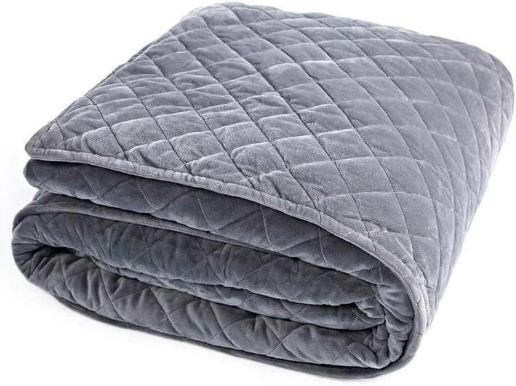 """BUZIO Removable Weighted Blanket Flannel Duvet Cover for Inner Layer 48"""" x 72"""",Grey"""
