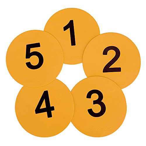 Eco Walker 8inch Numbered Floor Spot Markers Set of 5 (Yellow 1-5)