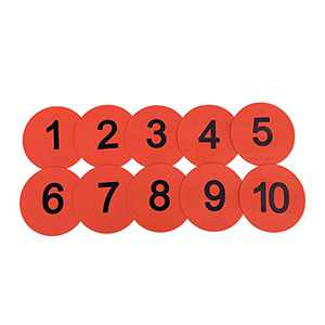 Eco Walker 8inch Numbered Floor Spot Markers Set of 5 (Red 1-10)