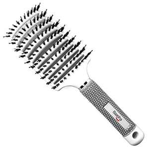 Baasha Curved Vent Brush Hair Brush, Detangling Hair Brush for Curly Hair, Large Boar Bristle White Vent Brushs For Blow Drying for Women, Curved Hair Brush Vented With Boar Bristle