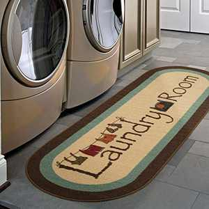"""Ottomanson Text Laundry Collection, 20"""" X 59"""", Brown"""