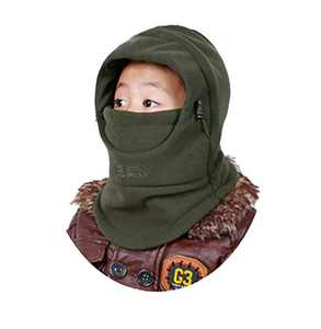 Winter Double-Deck Windproof Hat Thicken Warm Face Cover Adjustable Hat for Kids.DDBO Army Green