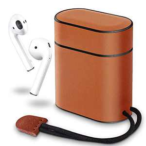 XGUO AirPods Case, Premium Leather Protective Shockproof Cover Case with Lanyard for Apple AirPods 1&2 Charging Case (Brown)