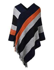 Deerludie & T Women's Elegant Knit Sweater Tassel Poncho Stripe Cape Shawl with Fringe Blue