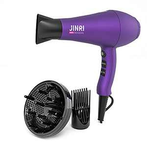 Professional Tourmaline Ionic Hair Dryer 1875W Lightweight DC Motor Low Noise Hair Blow Dryer 2 Speeds and 3 Heat Settings with Diffuser & Concentrator