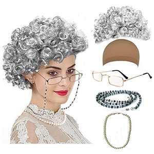 Old Lady Cosplay Set - Grandmother Wig, Wig Cap,Madea Granny Glasses, Eyeglass Chains Cords Strap, Pearl Beads (Style-6)