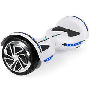 CBD Flash Hoverboard, Two-Wheel 6.5 inch Aluminum Hub Self Balancing Scooter with Bluetooth LED Lights for Kids Adults,White