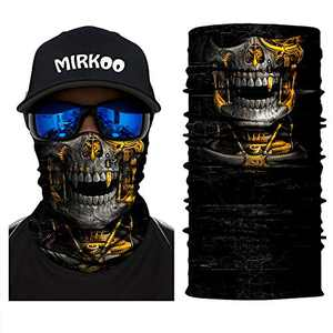 MIRKOO 3D Premium Breathable Seamless Tube Skull Half Face Mask, Windproof Dust-proof UV Protection Bicycle Bike Motorcycle Face Mask for Cycling Hiking Camping Climbing Fishing Motorcycling (SFM-758)