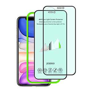 【Eye Protection】JESOHO Anti Blue Light Screen Protector for iPhone 11/Xr, Filter 97.1% of Harmful Blue Light, Blue Light Blocking Screen Protector for iPhone 11/iPhone Xr [2 Pack]