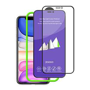 【Eye Protection】JESOHO Anti Blue Light Screen Protector for iPhone 11/Xr, Blue Light Filter Tempered Glass [9H Hardness] [Bubble Free] [Installation Frame] [2 Pack] (Upgrade)