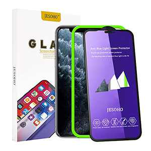 【Eye Protection】JESOHO Anti Blue Light Screen Protector for iPhone 11 / iPhone XR 6.1 inch (2 Packs), 3D Full Coverage Screen Protector Tempered Glass for iPhone 11 , Blue Light Filter Film for iPhone 11/iPhone XR