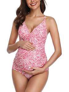 MiYang Women Maternity Swimsuit Flower Printed Cross Back One Piece Pregnant Beachwear Pink L