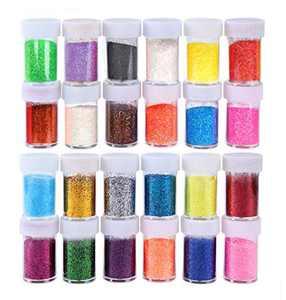 Glitter Powder 24 Color Magic Powder Flash Powder Sequins Nail Art Make Up Glitter Shimmer Dust Power Decoration. (18g/ 0.63oz Each)