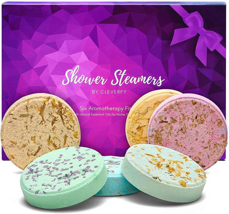 Cleverfy Aromatherapy Shower Steamers Variety Pack of 6 - Shower Bombs with Essential Oils for Relaxation. Purple Set: Lavender, Menthol & Eucalyptus, Vanilla, Watermelon, Grapefruit, and Peppermint