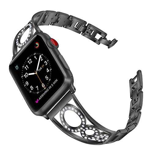 AmzAokay Stainless Steel Band Compatible Apple Watch Bands 38mm 40mm 42mm 44mm Women Iwatch Series 6 SE 5 4 3 2 1 Accessories Jewelry Cuff Bangle Bracelet Metal Wristband Strap (Black, 38mm 40mm)