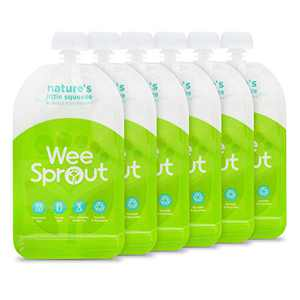 WeeSprout Double Zipper Reusable Food Pouches, 6 Pack 5 fl oz Size Pouches, Green