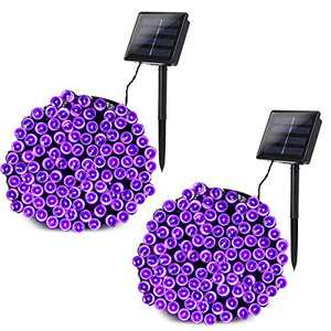 Joomer 2 Pack Solar String Lights 72ft 200 LED 8 Modes Outdoor String Lights Waterproof Solar Fairy Lights for Garden, Patio, Fence, Balcony, Outdoors (Purple)