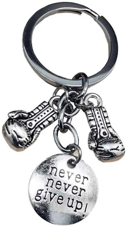 VOSAREA Never Never Give Up Boxing Glove Keychain Pendants Key Ring Key Accessories Car Bag Handbag Charm
