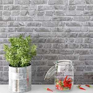 """Timeet 3D Brick Wallpaper Peel and Stick Wallpaper Brick Contact Paper 17.7"""" x 78.7"""" Removable Wallpaper Self-Adhesive Faux Brick Wallpaper Grey Brick Wallpaper Vinyl Film Roll for Room Decor"""