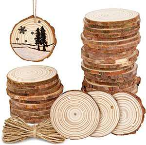 """50Pcs 2.4""""-2.8"""" Natural Wooden Slices,Colovis Unfinished Wood Circles with Holes Tree Bark Round Log Discs DIY Crafts Hanging Ornaments (50 Pcs, Natural Wood)"""