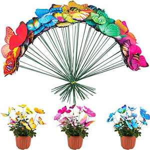ANPHSIN 60 Pieces Various Plastic Butterfly Stakes for Garden and Patio Decoration