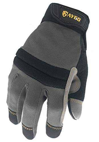 Work Gloves For Men, KAYGO KG125M Mechanics gloves for All Purpose,Excellent Grip,Heavy Duty,Improved Dexterity,Touch Screen